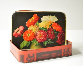 Vintage English Tin Flowery Chocolate Box