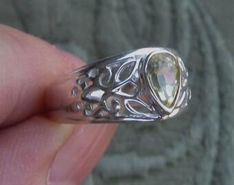Faceted Lemon Quartz Sterling Silver Ring Sizes 8