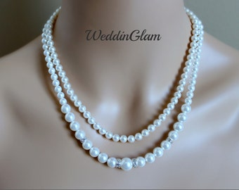 Double Layered Wedding Necklace, Bridal pearl Necklace, Two Strand Bridal Jewelry, Wedding Ivory Jewelry,