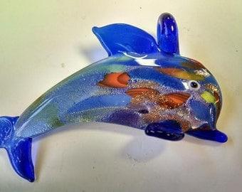 1 Glass Lampwork Dolphin Pendant Jewelry Supply Beach Dark Blue