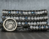 wrap bracelet opal crystal on pewter leather - grey gray white iridescent silver