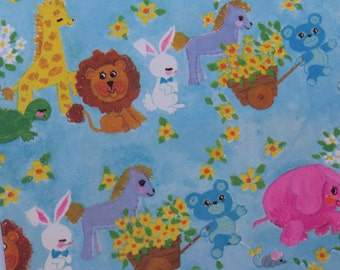 Vintage Gift Wrap Sheet -Any Occasion Juvenile- Baby Animals on Vintage Blue