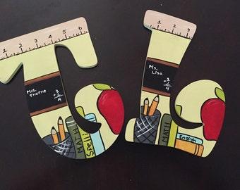 """8"""" hand painted teacher letter"""