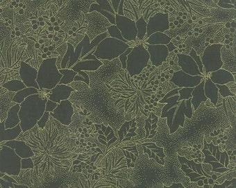 Let It Glow Metallics, Evergreen Poinsettia, by Sentimental Studios for Moda 33002 13M  3/4 yard