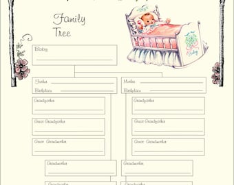 Baby Girl Family Tree Printable Instant Download