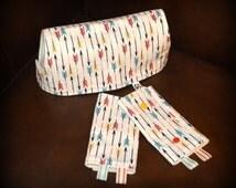 ORGANIC Drool Pads and Teething Bib SET // Organic Cotton & Organic Bamboo Fleece // Arrows