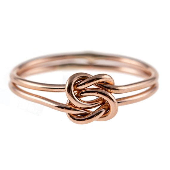 Double knot ring 14k rose gold filled by hoopsbyhand on etsy