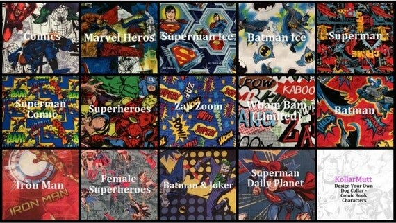 Custom Dog Collar - Design Your Own - Comic Book Characters
