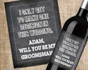 Will you be my groomsman wine label, groomsmen wine label, wedding party gift, asking bridal party, ask groomsmen, asking best man gift,