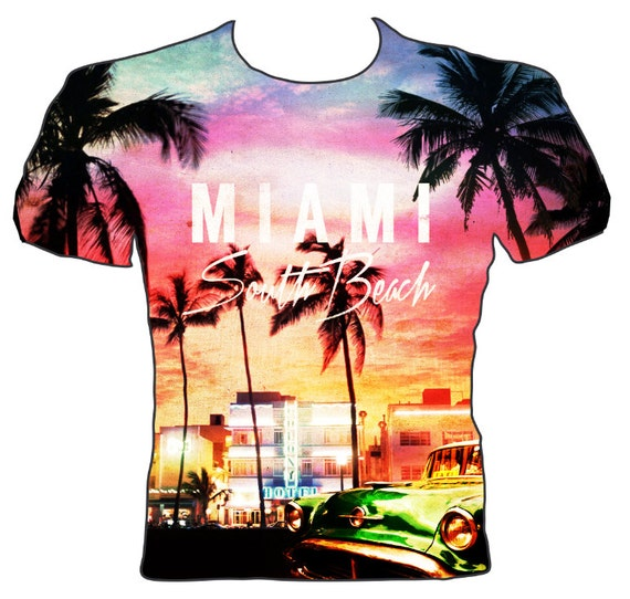 Miami South Beach All Over Print T Shirt By Camdentownclassics