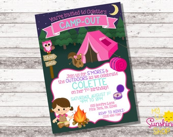 Girl's Camping Birthday Invitation | 1st 2nd Any Age Birthday Invitation | Camping Theme Birthday | Girl Birthday Invite | Camping | Digital