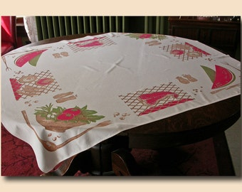 Colorful California Hand Prints Tablecloth Watermelon and Steak Graphics c. 1958