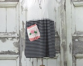 Winter Clearance -Summer Tricot Dress Upcycled Clothing Eco Fashion Black and white striped dress Xlarge