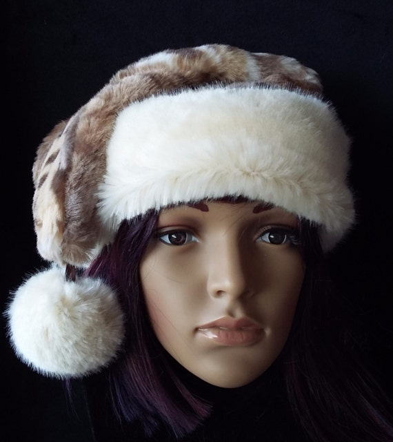 Items similar to Limited Edition Rabbit fur Santa hat with