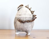 Sculptured Ceramic  Decorative Box,  Natural Clay, Dinosaur Design