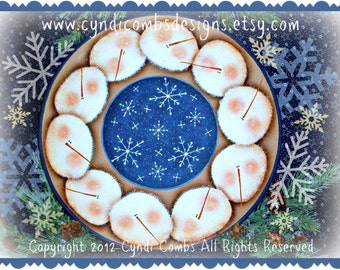 CC126 - Snow Heads 12 inch Plate - Painting E Pattern by Cyndi Combs