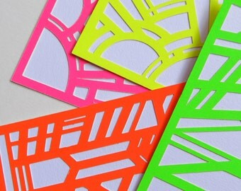 Neon Stationery, Art Deco Papercut; Other Colors Available! (4 or 8 Pack with box!)