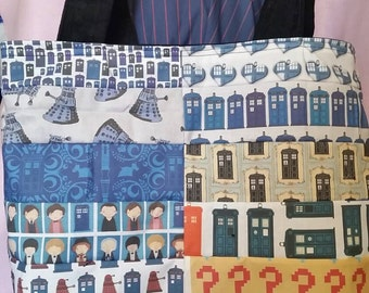 Custom patchwork Doctor Who inspired tote bag