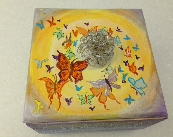 Butterflies a Flutter on Top of this Wood Box, painted in acrylics, with a silver flowered handle