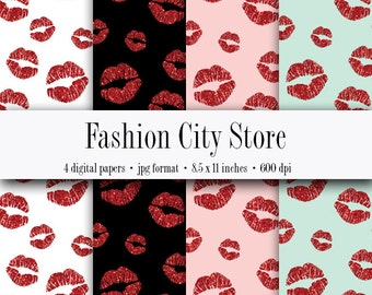 Red Glitter Lips Digital Paper - Bachelorette Party - 4 Digital Files at 600 dpi - Instant Download - 8.5 x 11 inches