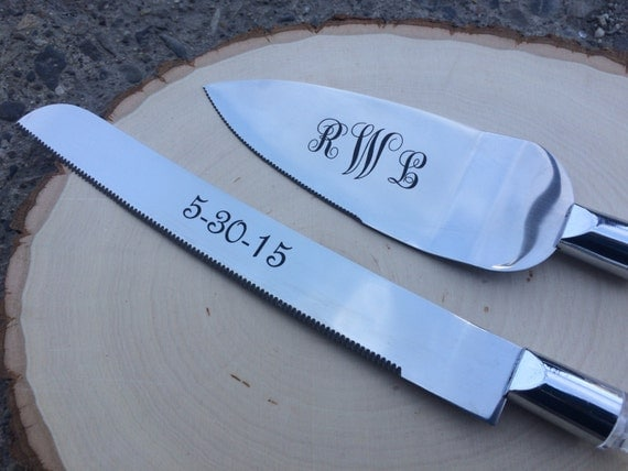 Engraved Cake Server Knife Set With Personalization Rustic Chic