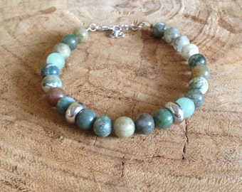 Men - Bloodstone & jade gemstone bracelet