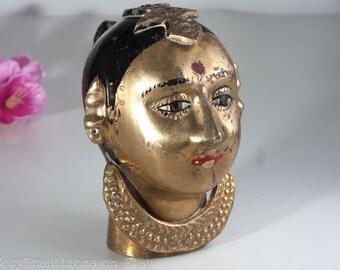 Brass Gauri Figurine: Vintage Head of Parvati Sculpture Statue, Authentic Hindu Figurine, Indian Goddess of Love and Fertility, Home Decor
