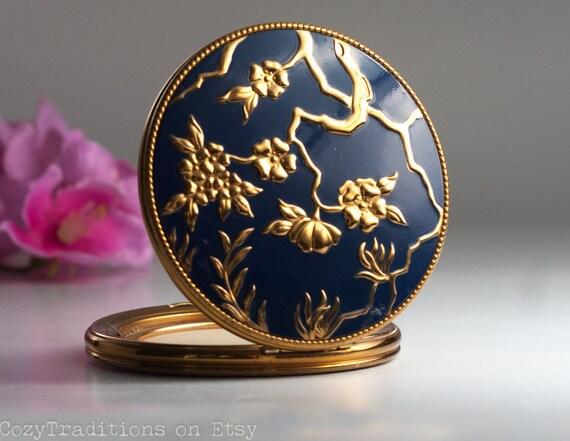 evans compact mirror  vintage powder case    dark blue and gold