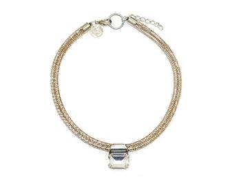 SALE! Jenny Choker in metallic nude - crystal choker, nude choker, metallic leather choker, collar necklace, choker necklace with crystal