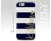 iPhone 6 Case iPhone 6 Plus case iPhone 6s Case iPhone 5 Case iPhone 5s Case iPhone 5c Case Samsung Galaxy Case - navy blue gold name heart