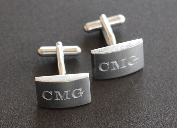 9 Pairs of Monogram Cufflinks, Personalized Cufflinks, Custom Engraved Wedding Cufflinks, Cuff Links Personalized, Groom Cufflinks
