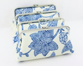 Something Blue Clutches / Royal Blue Wedding Clutches / Blue Lotus Bridesmaid Clutches / Blue Wedding Purses Gifts - Set of 4