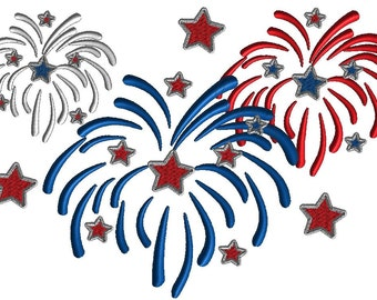 Fireworks embroidery design, filled stitch design in 3 sizes plus extra large size combined designs, patriotic  design, 4th of July,