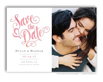 Save The Date Template - 5x7 Photo Card Photoshop Template - DYLAN & HANNAH - 1389
