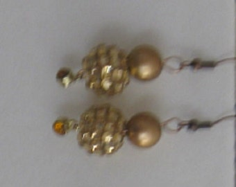 Champagne Dazzle Earrings with Copper Wires