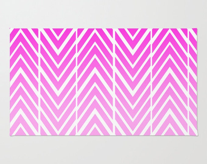 Pink Floor Rug - Door Rug  - Pink and White  - Bathroom Decor - Arrow Art - Throw Rug - Made to Order