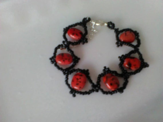 Lady bug bracelet with red jasper