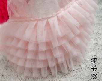 light pink ruffled tulle trim, ruffled lace trim, tutu dress fabric, ruffle mesh lace, baby girl dress, prop dress