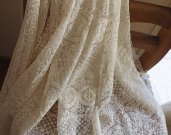 ivory  Lace fabric, Embroidered tulle lace fabric, vintage lace fabric with round patterns, cream tulle lace with circles, mesh lace fabric