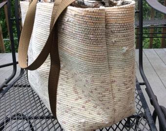 Handmade, upcycled recycled repurposed, shoulder bag, lined bag, woven bag, market bag, boho bag, bag with pockets, everyday bag, go bag