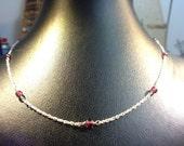 Silver and Rhodolite Minimal Necklace - Italian HandMade