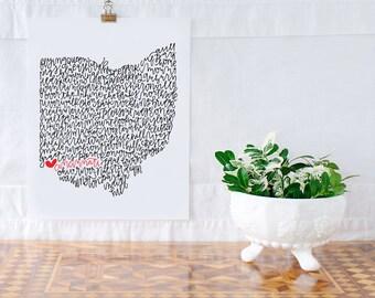 Cincinnati Illustration Print