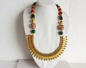 Indian Temple Jewelry Set - Coin Necklace with Coin Earrings -Red and Green