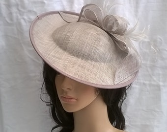 Silver grey Fascinator ..Stunning  Sinamay and  Feather  Fascinator Disc