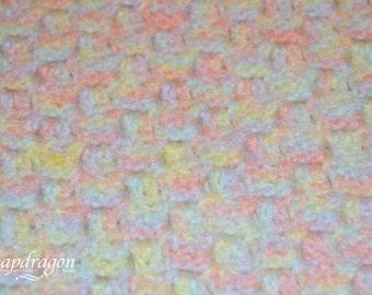 24'' square pastel rainbow corner to corner crochet baby blanket