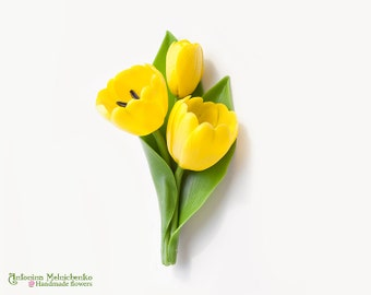 Brooch Tulips - Polymer Clay Flowers