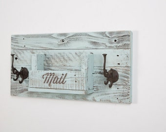 Mail Holder with Decorative Coat Hooks