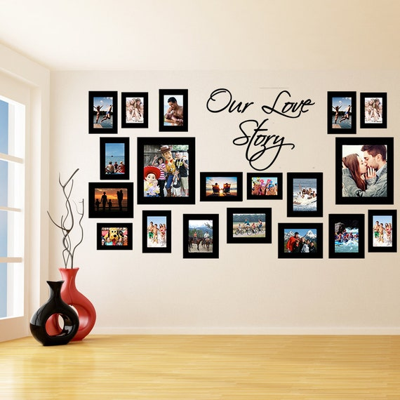 vinyl wall decal picture frames design our love story photos. Black Bedroom Furniture Sets. Home Design Ideas