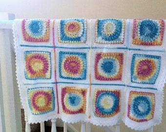 Danika - colourful crochet blanket (ready to ship)
