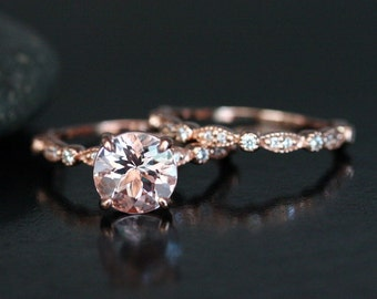 Morganite Wedding Ring Set in 14k Rose Gold with Morganite Round 8mm and Diamond Matching Band